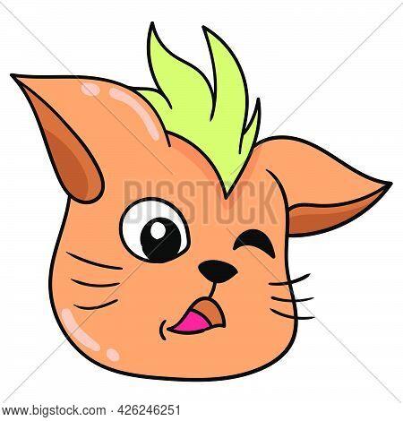 Cat Head Logo Seduces A Wink. Doodle Icon Drawing, Vector Illustration Carton Emoticon