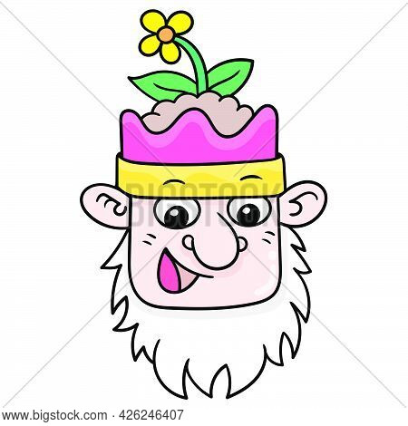 The Beard Faced Old Dwarf Head Smiled With A Plant On Top Of His Head. Doodle Icon Drawing, Vector I