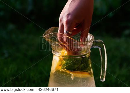 Defocus Hand Put Strawberry In Glass Jug Of Lemonade With Slice Lemon And Mint On Natural Deep Green