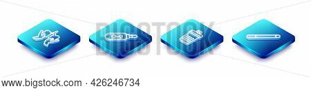 Set Isometric Line Lungs, Electronic Cigarette, Trash Can And Cigarette Icon. Vector