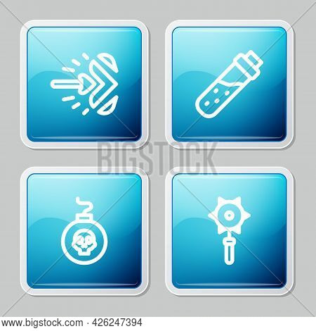 Set Line Magic Arrow, Bottle With Potion, Bomb Ready To Explode And Medieval Chained Mace Ball Icon.