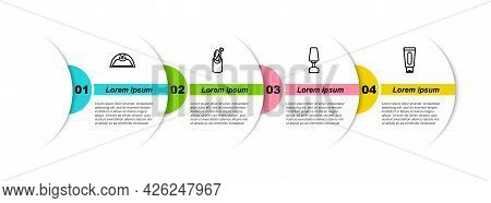 Set Line Manicure Lamp, Nail Manicure, Milling Cutter For And Tube Of Hand Cream. Business Infograph