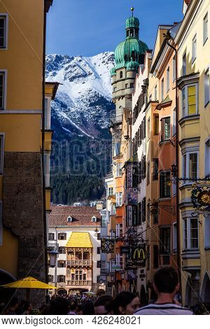 Innsbruck, Austria - 10 April 2015 - The Goldenes Dachl Is A Landmark Structure Seen At The End Of A