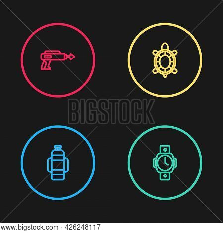 Set Line Aqualung, Diving Watch, Turtle And Fishing Harpoon Icon. Vector