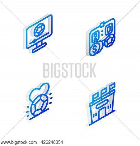 Set Isometric Line Football Betting Money, Match Tv, Soccer Football And Stadium Icon. Vector