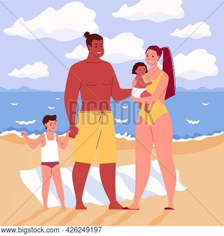 Family, Mother, Father, Daughter, Son, Holding Hands And Hugging. Summer Vacation By The Sea. Sunbat