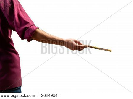 Close Up Painter Artist Hand Holding Paintbrush. Painter In Shirt Isolated On White Background. Crea