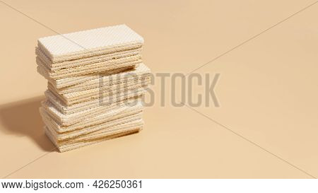 Stack Wafers With Copy Space2. High Quality Beautiful Photo Concept