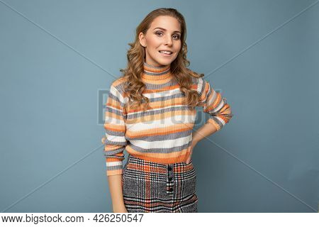 Young Charming Fascinating Self-confident Positive Happy Smiling Blonde Female Person Wearing Casual