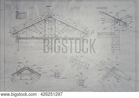Architectural plan,technical project drawing . Mixed media