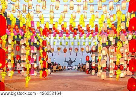 Park Siam, Thailand - 08.11.2019: Corridor Of Chinese Lanterns To The Main Square And The Statue Of