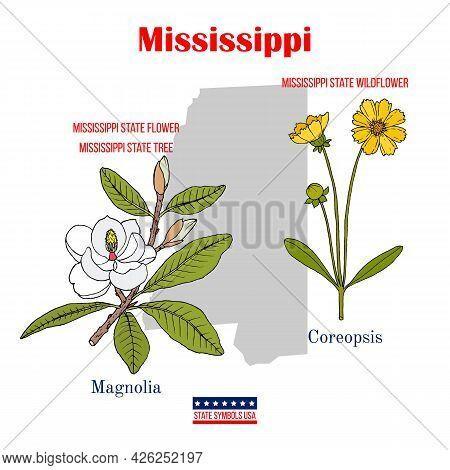 Mississippi. Set Of Usa Official State Symbols. Vector Hand Drawn Illustration