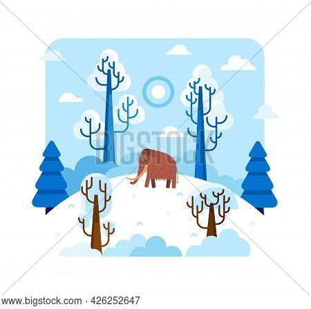 Mammoth Gulf On A Snow-covered Hill Among The Trees - Vector Cartoon Illustration In Flat Stile