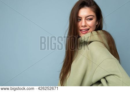 Portrait Photo Of Nice Cute Sweet Lovely Lovable Attractive Adorable Charming Cheerful Glad Young Wo