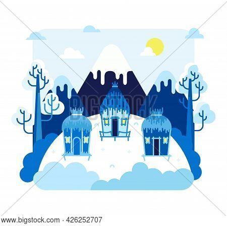 Three Huts On Stilts Stands In Glaciers - Vector Illustration In Flat Cartoon Stile. Little Village,