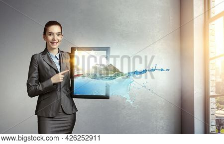 Image of mountain and ocean waves