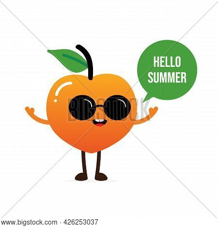 Cute Cartoon Style Happy Peach Fruit Character In Black Sunglasses With Speech Bubble Saying Hello S