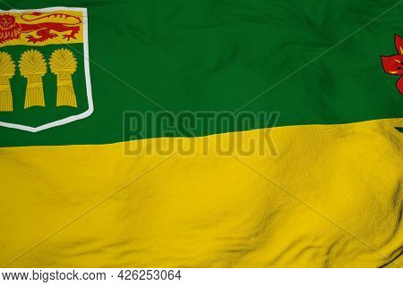 Full Frame Close-up On A Waving Flag Of Saskatchewan (canada) In 3d Rendering.