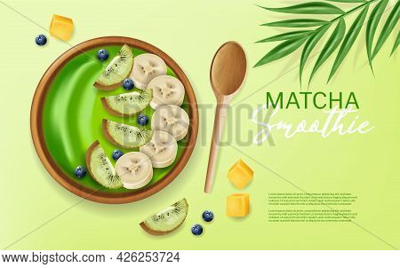 Matcha Smoothie Bowl Vector Realistic Mock Up. Banana And Fruits On Top. Green Healthy Organic Foods