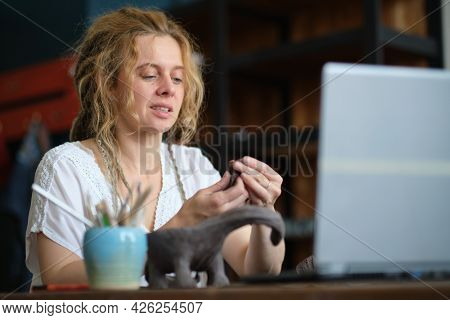 Artisan Pottery Tutor In Art Studio. Woman Ceramist Teaches An Online Lesson Or Leads A Video Master