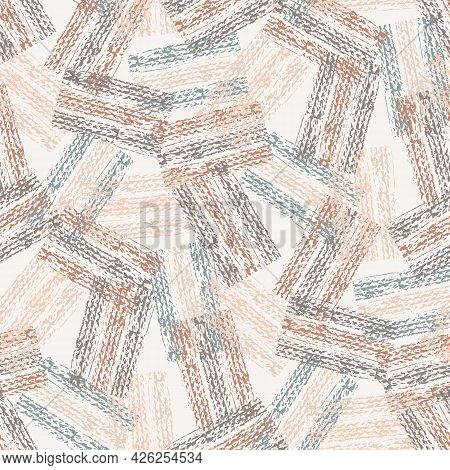 Abstract Vector Gauze Brush Effect Rectangles Seamless Pattern Background. Backdrop Of Scattered Pin