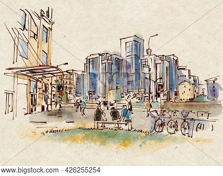 City Landscape.  Sketch Ink And Watercolor. Hand-drawn Illustration.
