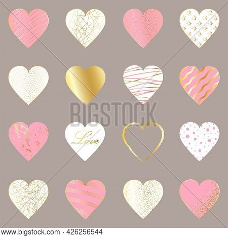 Set Of 16 Elegant Gold, Pink And White Hearts On A Light Gray Background. Luxury Abstract Design Tem