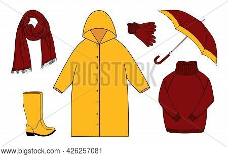 Cartoon Set Of  Warm Outdoor Clothes And Accessory For Autumn Cold Rainy Weather. Raincoat, Umbrella