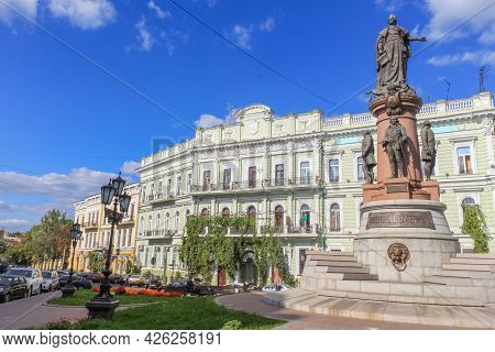 Odessa, Ukraine, October 9, 2012: Monument To The Russian Empress Catherine Ii In Odessa. Against Th