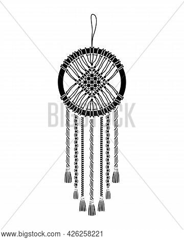 Vector Illustration Of Macrame Mural In Boho Style. Simple Style