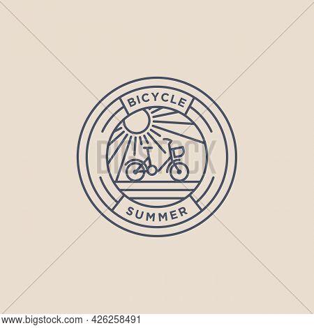 Summer Bicycle Minimalist Line Art Badge Icon Logo Template Vector Illustration Design. Simple Moder