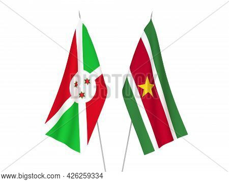 National Fabric Flags Of Burundi And Republic Of Suriname Isolated On White Background. 3d Rendering