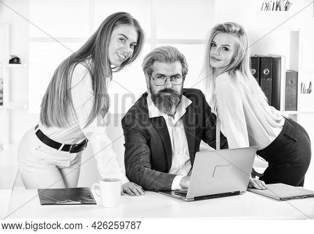 They Love Their Boss. Surrounded By Beautiful Ladies. Flirting With Boss. Man And Women Business Col