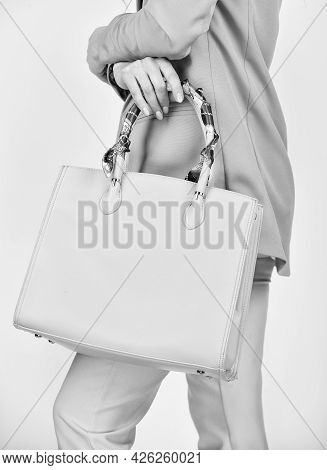 Handbag Considerations. Girl Presenting Clutch. Sexy Woman With Stylish Look. Fashionable Woman With