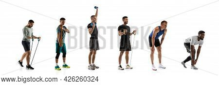 Sports Training. Young Men, Male Joggers, Runners, Athletes In Action Isolated On White Studio Backg