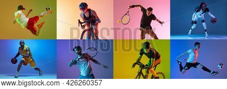 Collage Of Different Professional Sportsmen, Fit People Isolated On Color Background In Neon Light.
