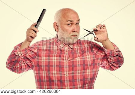 Hairdresser Service. Barber Work With Sharp Scissors. Man Bearded Handsome Hairstylist Barber Use To
