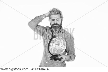 Around The World. Travel And Wanderlust. Bearded Man With Globe. Earth Day. International Concept. G