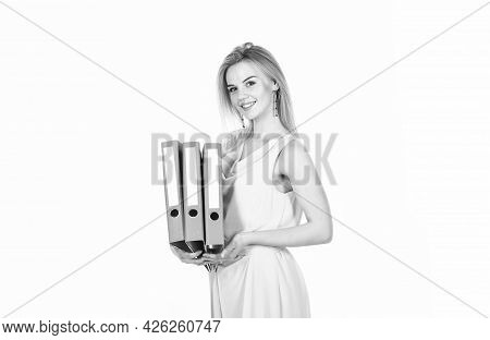 Business Woman With Folders. Businesswoman At Workplace And Reading Paper In Office. Business Woman