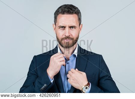 Serious Entrepreneur Or Manager. Male Formal Fashion. Professional Unshaven Ceo.