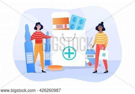 Two Female Characters Are Looking For A Suitable Medication Together. Two Women Are Picking Pills Fo
