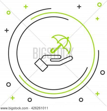 Line Umbrella In Hand Icon Isolated On White Background. Insurance Concept. Waterproof Icon. Protect