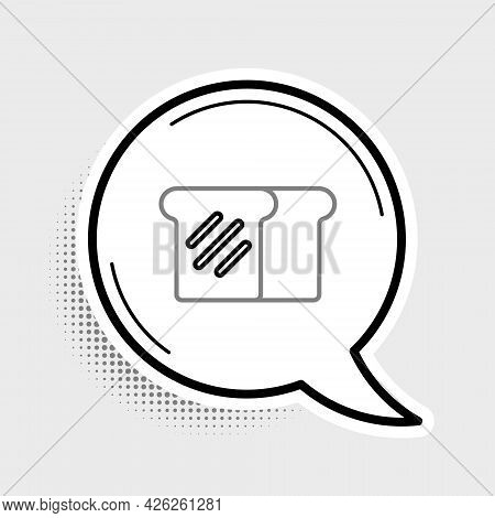 Line Bread Toast For Sandwich Piece Of Roasted Crouton Icon Isolated On Grey Background. Lunch, Dinn