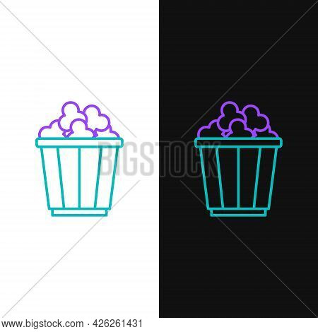 Line Popcorn In Cardboard Box Icon Isolated On White And Black Background. Popcorn Bucket Box. Color