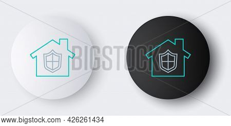 Line House Under Protection Icon Isolated On Grey Background. Home And Shield. Protection, Safety, S