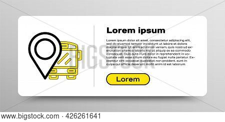 Line Location With Bus Icon Isolated On White Background. Transportation Concept. Bus Tour Transport