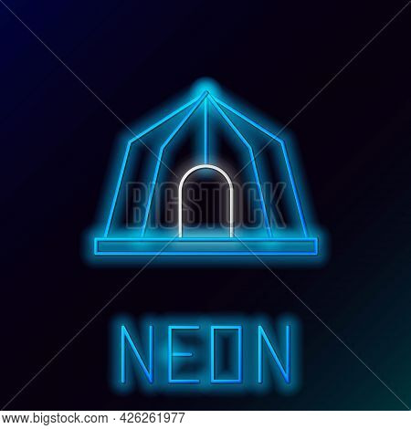 Glowing Neon Line Circus Tent Icon Isolated On Black Background. Carnival Camping Tent. Amusement Pa
