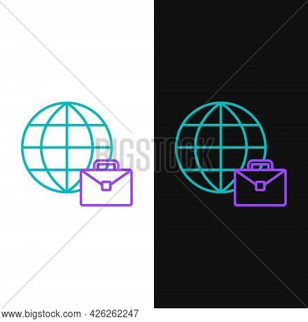 Line Online Working Icon Isolated On White And Black Background. Freelancer Man Working On Laptop At