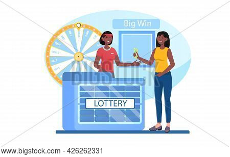 Young Smiling Female Character Is Buying Tickets In Lottery Kiosk. Store Customer And Smiling Salesw