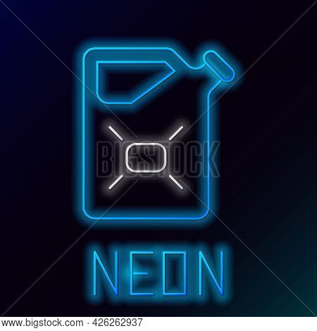 Glowing Neon Line Canister For Flammable Liquids Icon Isolated On Black Background. Oil Or Biofuel,